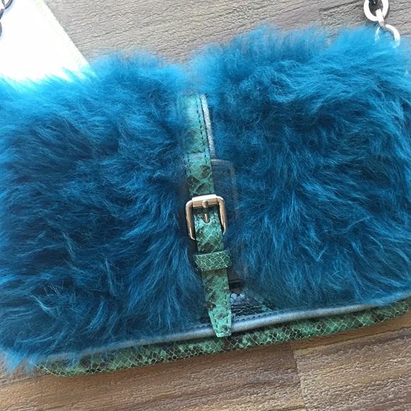 Longchamp Fur   Snakeskin Shoulder Bag NWT d92027148d41d